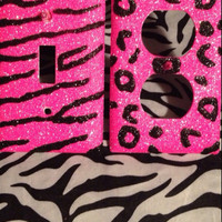 Set of 2, Outlet and Light Switch Cover in Cheetah & Zebra Print