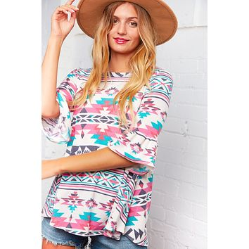 Give Me That' Tribal Bell Sleeve Blouse