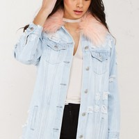 Fur Detail Denim Jacket in Light Denim