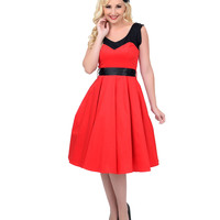 1950s Style Red & Black Color Block Swing Dress