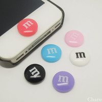 1PC Resin Candy M Chocolate Beans  Home Button Sticker for iPhone 3,4,4s,5,ipad 2,3,4,iPod Touch 2,3,4,5