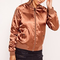 Missguided - Premium Satin Bomber Jacket Brown