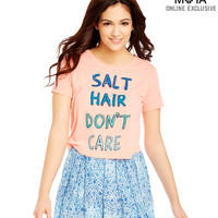 Aeropostale Womens Salt Hair Cropped Graphic T-Shirt - Earthly,