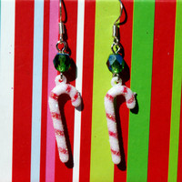 Glitter Candy Cane Earrings Christmas Earwires Holiday Dangles with Green Accent