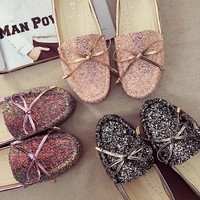 Flat Autumn Butterfly Round-toe With Heel Shoes [9448887687]