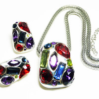 Jewel Tone Modernist Necklace Earring Set - Red, Blue, Purple, Green Lucite Faceted Rhinestes - Pierced Earrings & Mesh Silvertone Chain