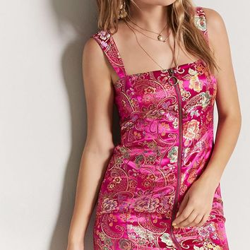Floral Embroidered Ring Zipper Satin Dress