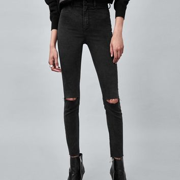STRAIGHT CUT HI-RISE AUTHENTIC JEANS WITH SIDE STRIPE