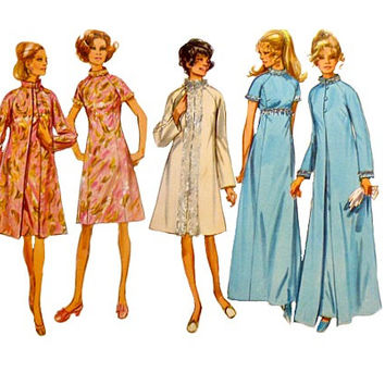 70s Dress Matching Coat Pattern Two Lengths Raglan Sleeves Stand Up Collar Vintage Simplicity 9122 Sewing Patterns Size 16 Bust 38 Uncut