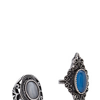 FOREVER 21 Cutout Etched Ring Set Blue/Burn.S