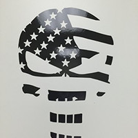 CMI114 Skull Punisher Flag Decal Sticker | Black Reflective Vinyl