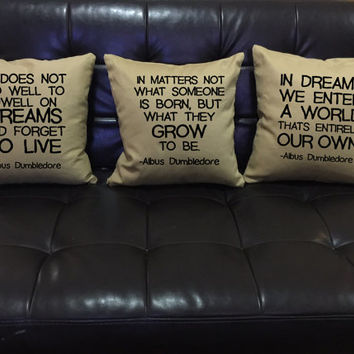 Harry Potter Dumbledore Quote, Pillow Cover Set, Harry potter throw pillow, cotton canvas pillow cover Pillow Cover set