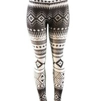 Native American Black and White Pattern Leggings (Small)