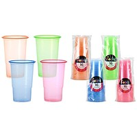 18 oz. Neon Plastic Cups 4 Sets Of Assorted Colors 16-Packs Neons
