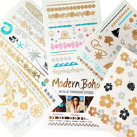 Island Collection Metallic Tattoos Gold and Silver Flash By Modern Boho