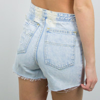 Vintage (Size Small) 1970s Distressed High Waisted Denim Shorts