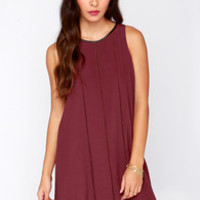 Drawing Parallels Burgundy Shift Dress