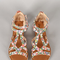 Qupid Athena-673A Floral Strappy Open Toe Flat Sandal