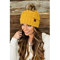 * Fur Lined C.C. Cable Knit Pom Beanie - Mustard