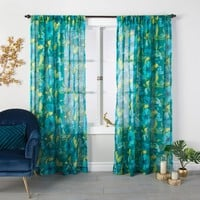 Indochic Floral Sheer Curtain Panel Bluff Green - Opalhouse™