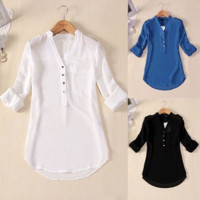 US Size S-4XL Women Spring Summer V-neck Chiffon Elegant All-match Solid Botton Casual Spirals Shirt Blouse [6269589956]