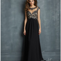 Night Moves by Allure - Black Chiffon Open Back Prom Dress Prom 2015