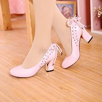 Women High Heels Shoes Cross Straps Pumps 5411