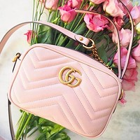 GUCCI Small Square Bag Classic Wave pattern Shopping Leather Shoulder Bag Crossbod Pink