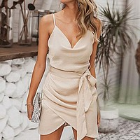Solid Sexy Club Party Dress Women Satin Spaghetti Strap  Bow Wrap Short Ladies Dress Vestidos
