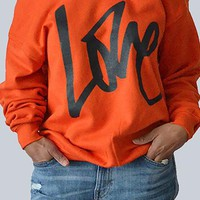 Round Neck Long Sleeves Letter Printing Cotton Pullover