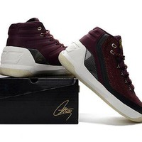 DCCKIJ2 Men's Under Armor Curry 3 Knit Basketball Shoes Wine Red