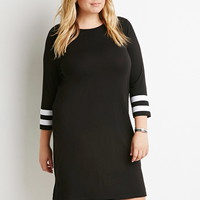 Striped-Sleeve Shift Dress