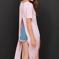 Light Pink Knitted Midi Dress with Slits Detail