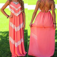 Multi Color Lace Chiffon Maxi Dress