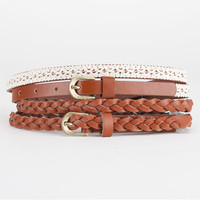 2 Piece Skinny Faux Leather Belts Cognac  In Sizes