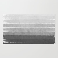 Brushstroke - Ombre Grey, Charcoal, minimal, Monochrome, black and white, trendy, painterly art Rug by CharlotteWinter