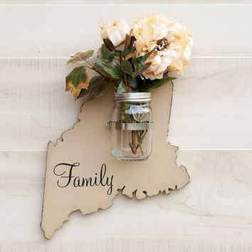 Maine or any US state shape wood cutout sign mason jar wall art vase. Faith, Hope, Love, Family or Home.  Wedding Country Cottage Chic Decor
