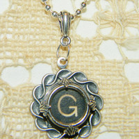 Typewriter Key Letter G Necklace G Typewriter Jewelry Wrapped Key G on 18 Inch Silver Plate Ball Chain Silver Pendant G Typewriter Jewelry