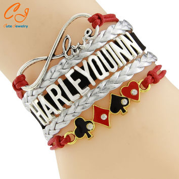 New Fashion Jewelry Infinity Bracelet red black Leather Cord Wrap Bangle HARLEY QUINN for Christmas Birthday Gift Drop Shipping