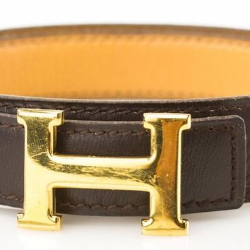 HERMES Reversible Tan and Dark Brown Leather Belt with Gold H Buckle