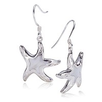 Sterling Silver Starfish Hook Earring With Scrolling and Mother-of Pearl Inlay