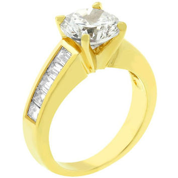 Classic Golden Engagement Ring, size : 05