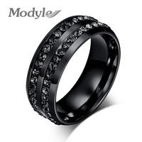 2016 New Fashion Men Rings Black Crystyal Rings Stainless Steel Men Wedding Rings
