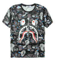 Fashion BAPE SHARK Camouflage shape print boy tee top T-shirt