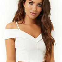 Textured Foldover Open-Shoulder Crop Top