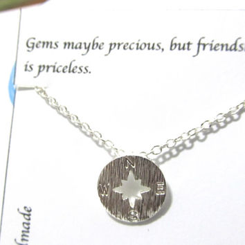 Compass Necklace, Best Friend Gift, B2, Gift For Friend, Everyday Dainty Delicate Necklace, Christmas Gift