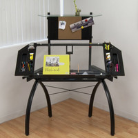 """Futura Drafting Table with Tower (Black / Clear Glass) (56.25""""H x 49.75""""W x 21.75""""D)"""