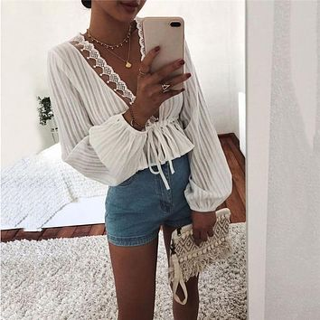 Women White Crop Tops Striped Blouse Lace Deep V Neck Long Lantern Sleeve Shirts Eleghant Lady Waist Lace-up Tops