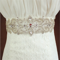2016 New Luxurious Woman Bridal Sash with Crystal Rhinestone Formal Wedding Gown Belts