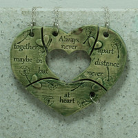 Friendship necklaces set of 4 puzzle pieces Heart with friendship quote Always together Green